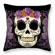 Vintage Sugar Skull And Roses Throw Pillow by Tammy Wetzel