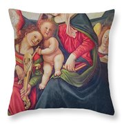 Virgin And Child And Angel Musicians Throw Pillow by Piero di Cosimo