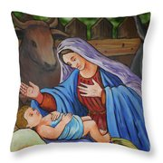 Virgin Mary And Baby Jesus Throw Pillow by Gaspar Avila