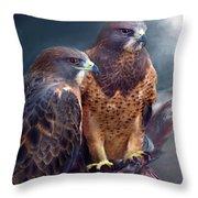 Vision Of The Hawk Throw Pillow by Carol Cavalaris
