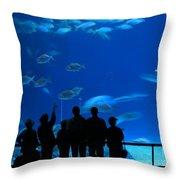 Visitors At An Aquarium Throw Pillow by Yali Shi