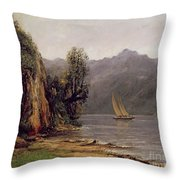 Vue Du Lac Leman Throw Pillow by Gustave Courbet