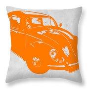 VW Beetle Orange Throw Pillow by Naxart Studio
