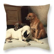 Waiting For Master Throw Pillow by William Henry Hamilton Trood