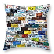 Wall Of American License Plates Throw Pillow by Christine Till