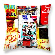 Walls Of Beirut Throw Pillow by Funkpix Photo Hunter