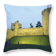 Warwick Castle At Dawn With A Man Throw Pillow by Richard Nowitz