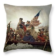 Washington Crossing the Delaware River Throw Pillow by Emanuel Gottlieb Leutze