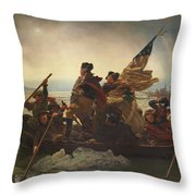 Washington Crossing The Delaware Throw Pillow by War Is Hell Store