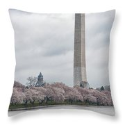 Washington Monument During Cherry Blossom Festival  Throw Pillow by Sebastian Musial