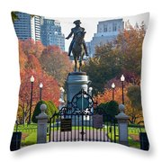 Washington Statue In Autumn Throw Pillow by Susan Cole Kelly