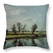 Water Meadows Near Salisbury Throw Pillow by John Constable