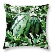 Waterelons In A Vegetable Garden Throw Pillow by Lanjee Chee