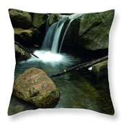 Waterfall In The Woods Throw Pillow by Kathy Yates