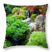 Waterfalls In Japanese Garden Throw Pillow by Carol Groenen
