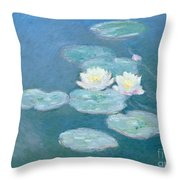 Waterlilies Evening Throw Pillow by Claude Monet