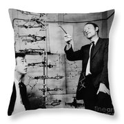 Watson And Crick Throw Pillow by A Barrington Brown and Photo Researchers
