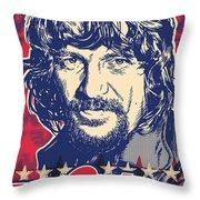 Waylon Jennings Pop Art Throw Pillow by Jim Zahniser