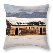 Weathered Barn Throw Pillow by Sue Smith