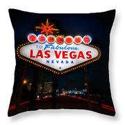 Welcome to Las Vegas Throw Pillow by Steve Gadomski