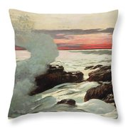 West Point Prouts Neck Throw Pillow by Winslow Homer