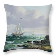 Whalers Coming Home Throw Pillow by American School