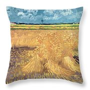 Wheatfield With Sheaves Throw Pillow by Vincent van Gogh