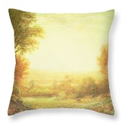 When The Sun In Splendor Fades Throw Pillow by John MacWhirter