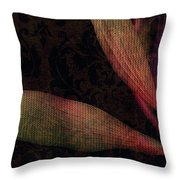 While The Flowers Slept Throw Pillow by Bonnie Bruno