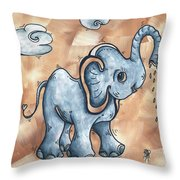 Whimsical Pop Art Childrens Nursery Original Elephant Painting Adorable By Madart Throw Pillow by Megan Duncanson