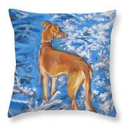 Whippet Throw Pillow by Lee Ann Shepard