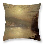 Whitby Throw Pillow by John Atkinson Grimshaw