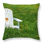 White Chair With Straw Hat Throw Pillow by Sandra Cunningham