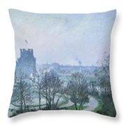 White Frost Jardin Des Tuileries Throw Pillow by Camille Pissarro