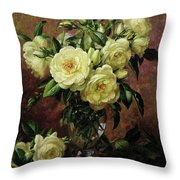 White Roses - A Gift From The Heart Throw Pillow by Albert Williams