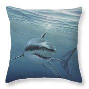 White Shark Throw Pillow by Angel Ortiz