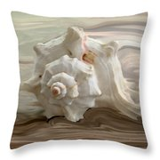 White shell Throw Pillow by Linda Sannuti