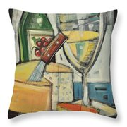 White Wine And Cheese Throw Pillow by Tim Nyberg