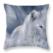 White Wolf Throw Pillow by Carol Cavalaris