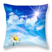 Wild Daisy In The Grass Against Bleu Sky Throw Pillow by Sandra Cunningham