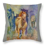 Wild Horses Throw Pillow by Gretchen Bjornson