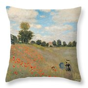 Wild Poppies Near Argenteuil Throw Pillow by Claude Monet