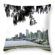 Window To The Harbor Throw Pillow by Will Borden