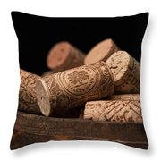 Wine Corks Throw Pillow by Tom Mc Nemar