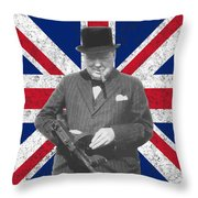 Winston Churchill And His Flag Throw Pillow by War Is Hell Store