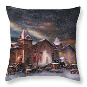 Winter - Clinton NJ - Silent Night  Throw Pillow by Mike Savad