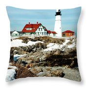 Winter at Portland Head Throw Pillow by Greg Fortier