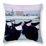 Winter At The Convent Throw Pillow by Margaret Loxton