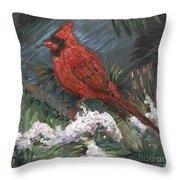 Winter Cardinal Throw Pillow by Nadine Rippelmeyer