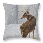 Winter Coat Buck Throw Pillow by Johanna Lerwick